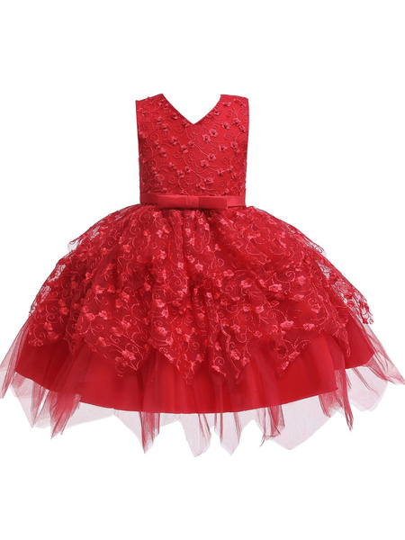 Milanoo Flower Girl Dresses V Neck Tulle Sleeveless Knee Length Princess Silhouette Flowers Kids Social Party Dresses