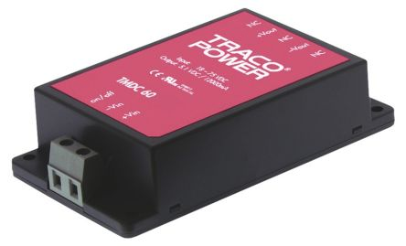 TRACOPOWER TMDC 60 60W Isolated DC-DC Converter Chassis Mount, Voltage in 18 → 75 V dc, Voltage out 24V dc