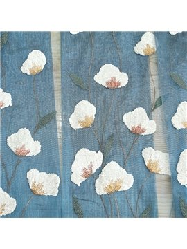 Modern Pastoral Floral Embroidered Sheer Curtains for Living Room Custom 2 Panels Breathable Drapes No Pilling No Fading No off-lining