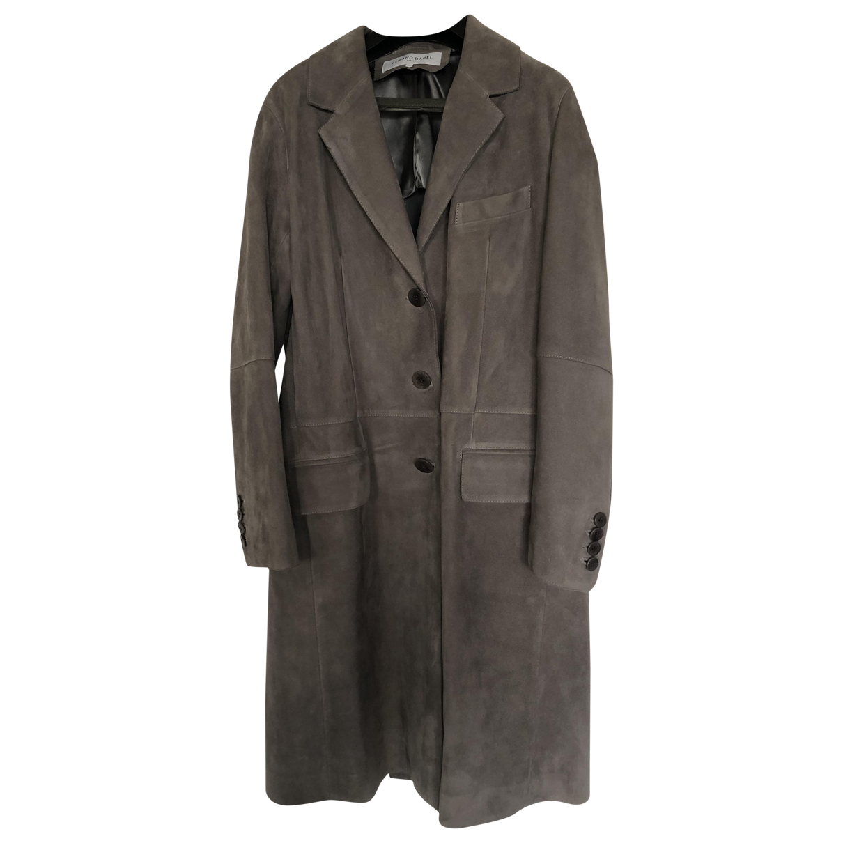 Gerard Darel - Manteau   pour femme en cuir - gris