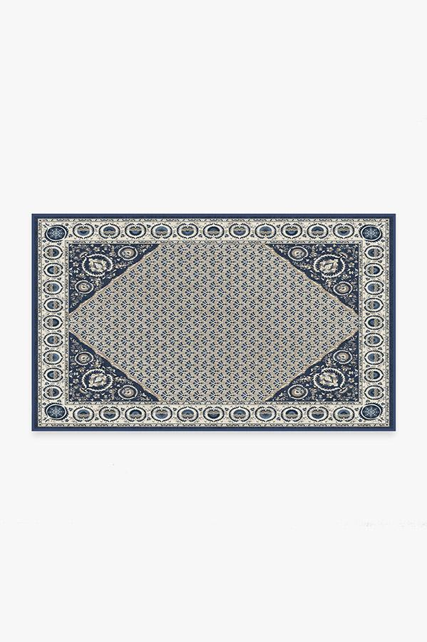 Washable Rug Cover & Pad | Samira Suzani Ivory Blue Rug | Stain-Resistant | Ruggable | 3'x5'