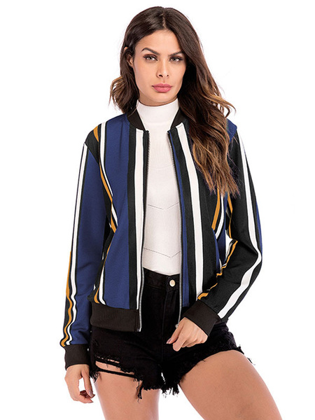 Milanoo Stripe Varsity Jacket Mujeres Zip Up Cotton Long Sleeve ligero chaqueta del estadio