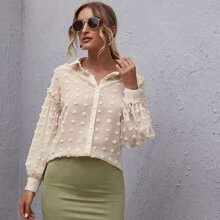 Button Front Shirred Detail Swiss Dot Top