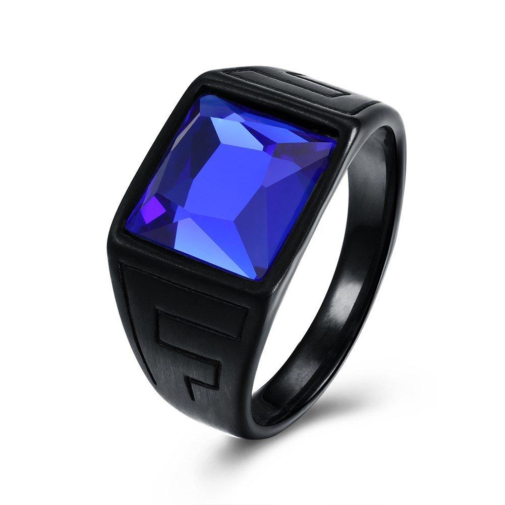 Fashion Titanium Steel Ring Blue Gemstone Gun Black Plated Rock Finger Ring for Men Gift