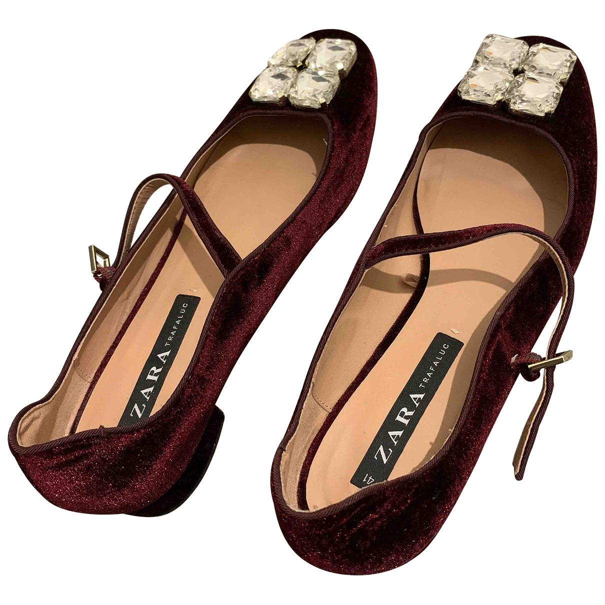 Zara - Mocassins   pour femme en velours - bordeaux
