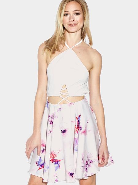 Yoins Random Floral Print Back Lace-up Halter Mini Dress