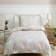 Kinder Bettwaesche Set mit Stern Muster ohnd Fuellstoff