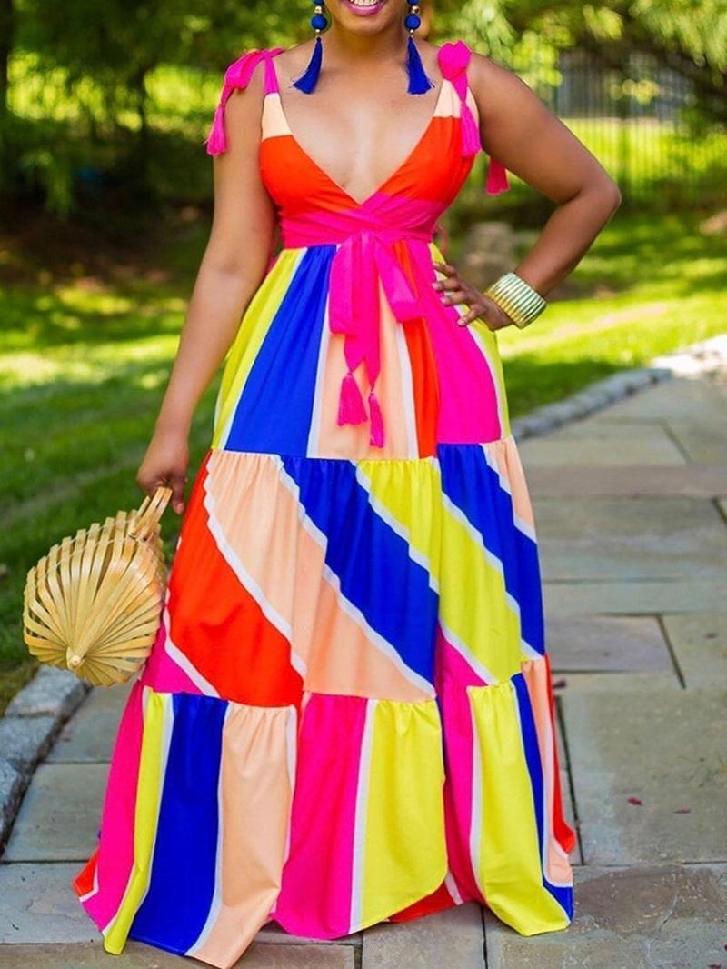 Ericdress Floor-Length Print Sleeveless Color Block Casual Dress