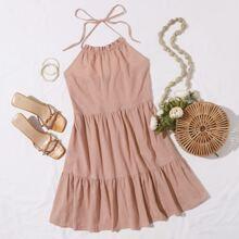 Kleid mit Selbstband, Ruesche, Raffungsaum und Neckholder