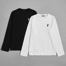 2 Packe T-Shirt mit Stickereien Detail