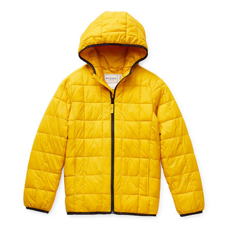 Arizona Little & Big Boys Hooded Packable Midweight Puffer Jacket, Small (8) , Yellow