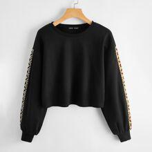 Crop Pullover mit Kontrast Stamm Muster und Stickereien