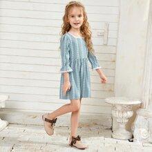 Toddler Girls Contrast Lace Flounce Sleeve Dress