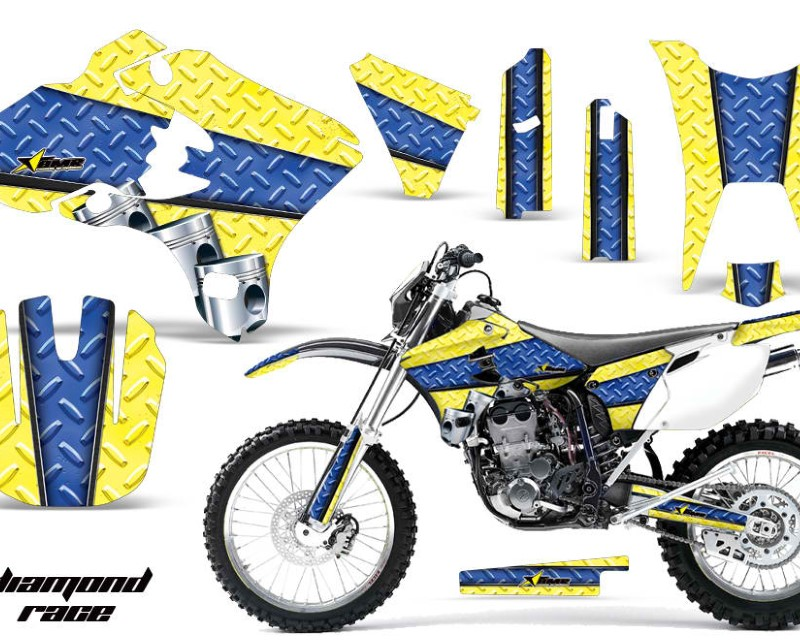 AMR Racing Dirt Bike Graphics Kit Decal Wrap For Yamaha WR250F WR450F 2003-2004áDIAMOND RACE YELLOW BLUE