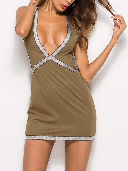 Yoins Khaki Backless Design Deep V Neck Sleeveless Sexy Dress