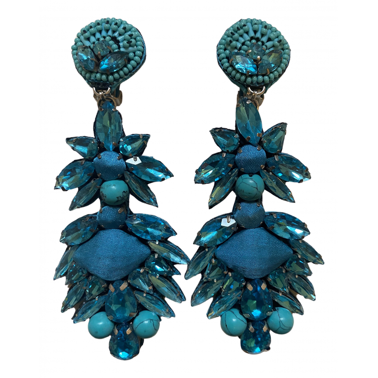 Non Signé / Unsigned N Turquoise Metal Earrings for Women N