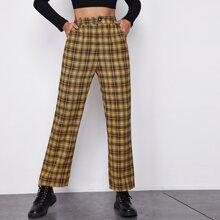 Buttoned Front Slant Pocket Plaid Pants