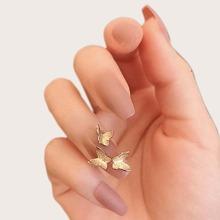 24 Stuecke Kuenstlicher Nagel mit Schmetterling Dekor & 1 Blatt Klebeband