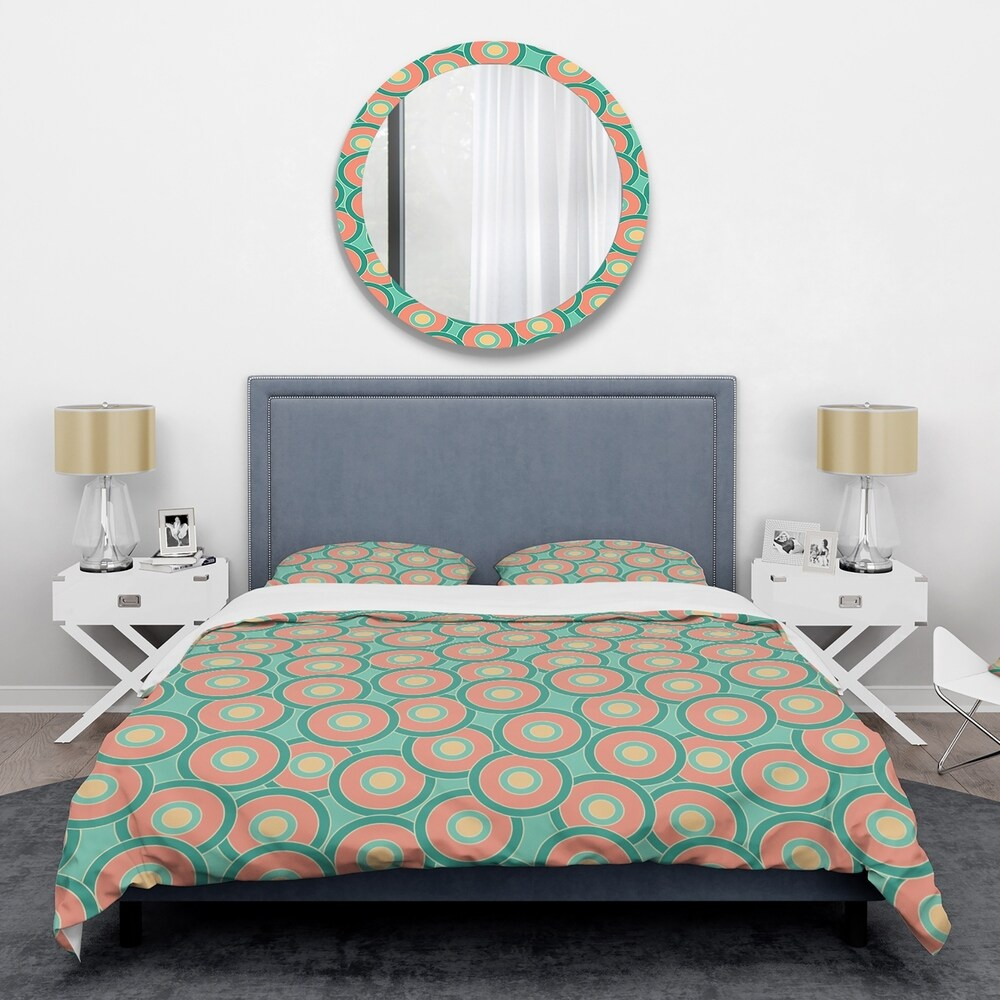 Designart 'Retro Circular Pattern VI' Mid-Century Duvet Cover Set (Twin Cover + 1 sham (comforter not included))