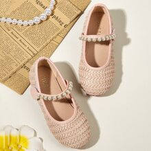 Toddler Girls Faux Pearl Decor Braided Flats