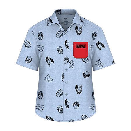 Little & Big Boys Short Sleeve Marvel Button-Down Shirt, Xx-small (4-5) , Blue