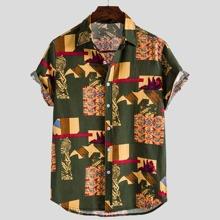 Men Tribal Print Button Up Shirt