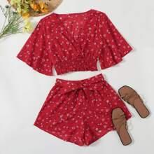 Outfit de dos piezas Cinta floral de margarita Rojo Bohemio