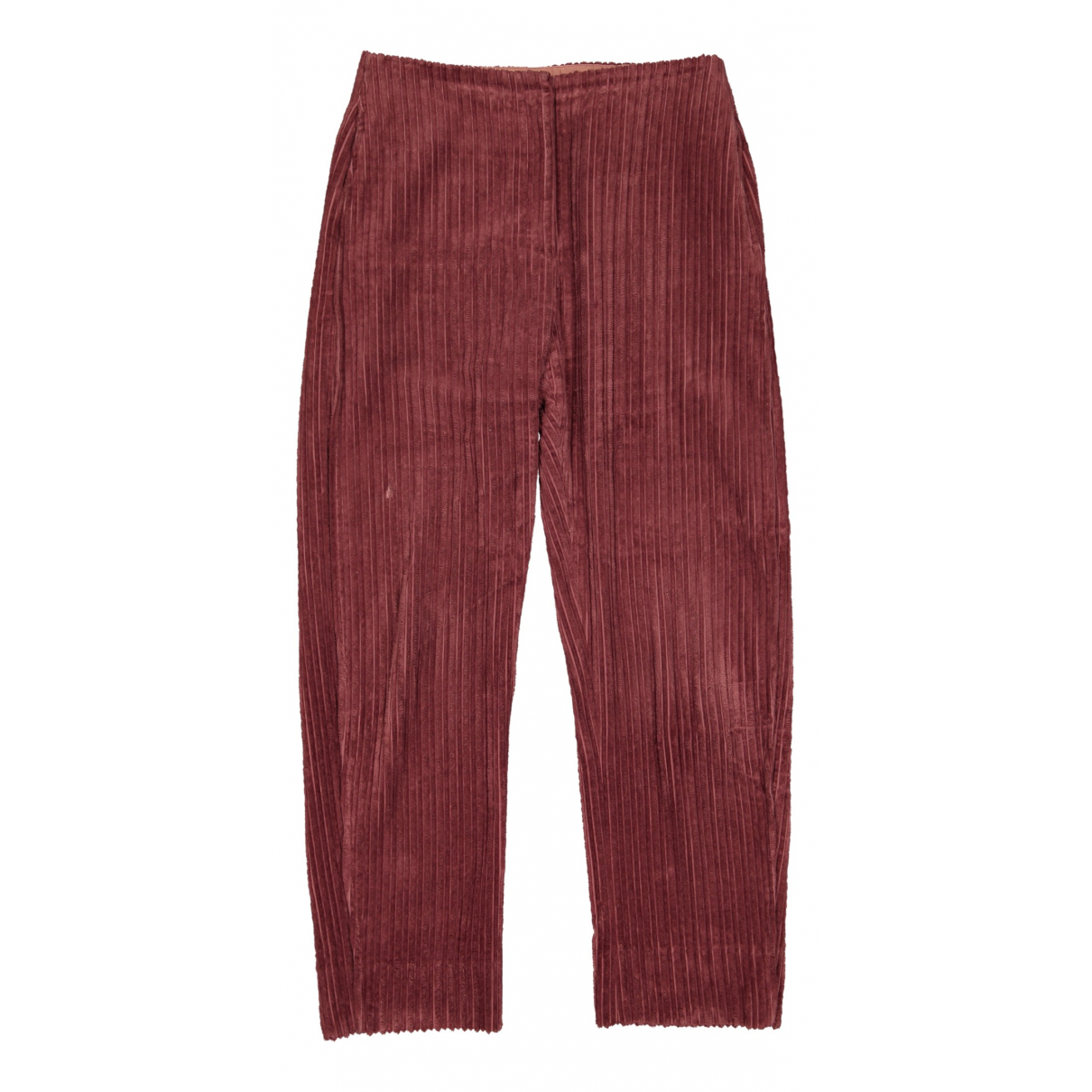 Lemaire \N Red Cotton Trousers for Women 40 FR