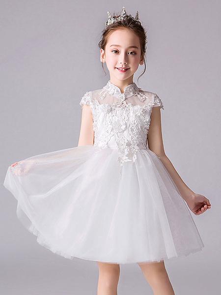 Milanoo Flower Girl Dresses Designed Neckline Sleeveless Bows Kids Social Party Dresses