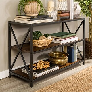 Carbon Loft Hattie 40-inch X-frame Bookshelf (Dark Walnut / Black Metal)