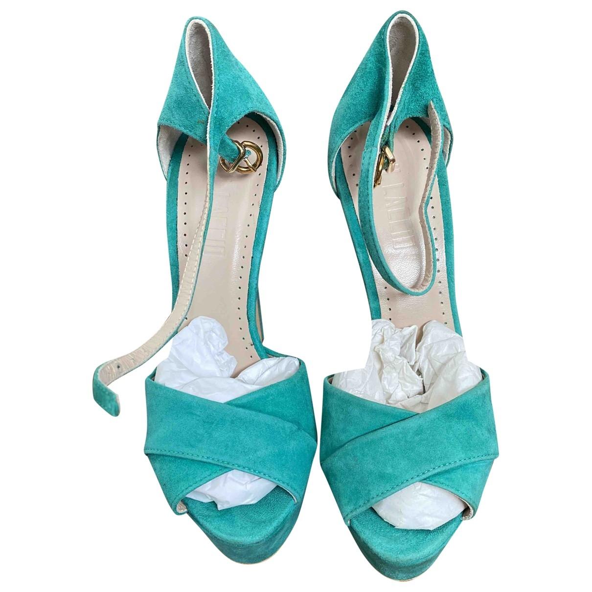 - Escarpins   pour femme en suede - turquoise