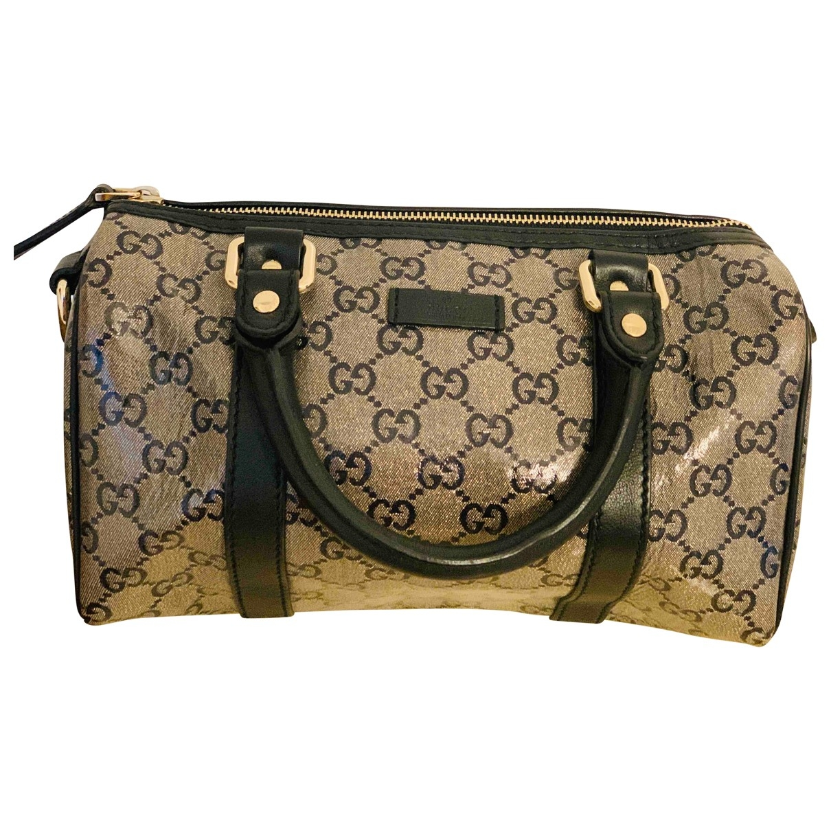 Gucci Boston Handtasche in  Beige Leinen