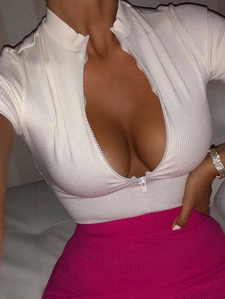 Yoins White Adjustable Neckline Zip Front Short Sleeves Top