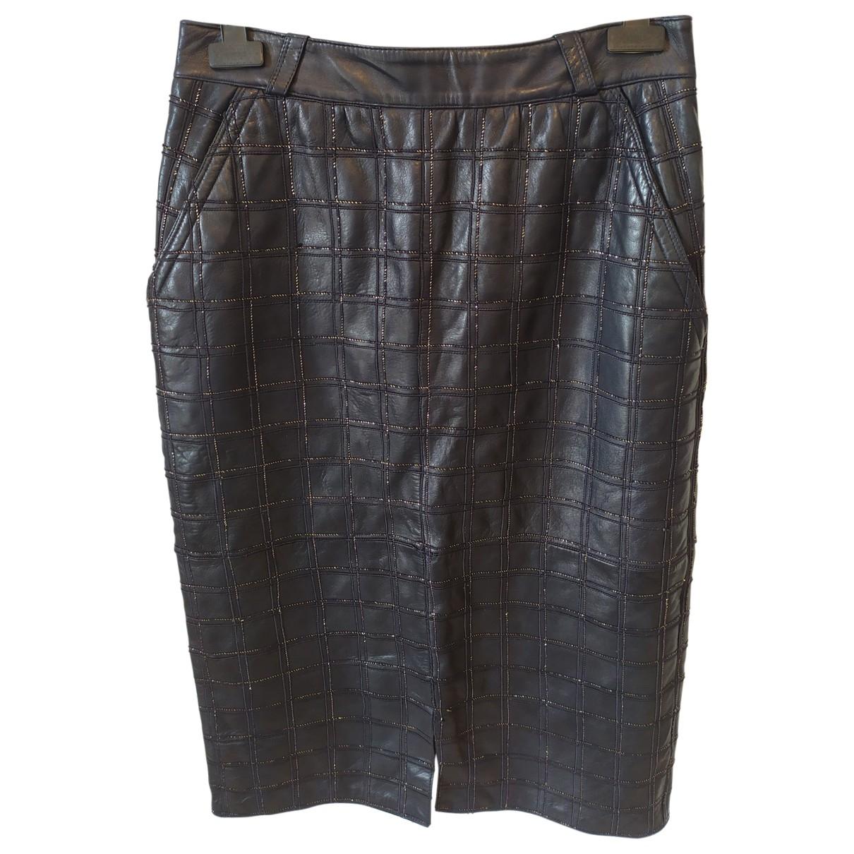 Falda midi de Cuero Gianni Versace