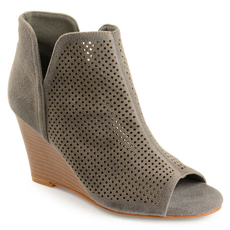 Journee Collection Womens Andies Wedge Heel Pull-on Booties, 10 1/2 Medium, Gray