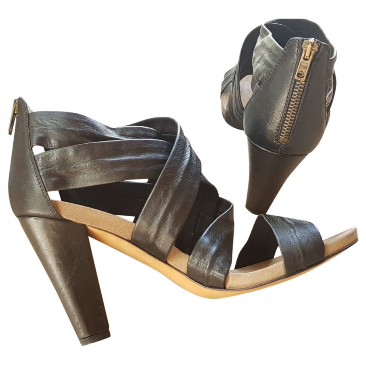 Janet & Janet - Sandales   pour femme en cuir - noir
