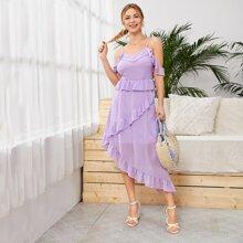 Schulterfreies Kleid mit Raffung und asymmetrischem Saum