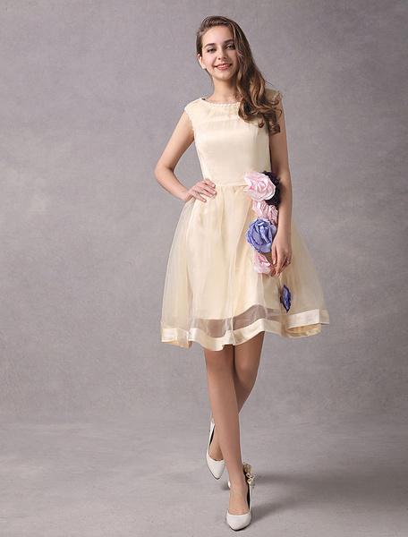 Milanoo Vestidos de novia cortos Champagne Organza vestido nupcial flores Mini vestido de recepcion sin mangas