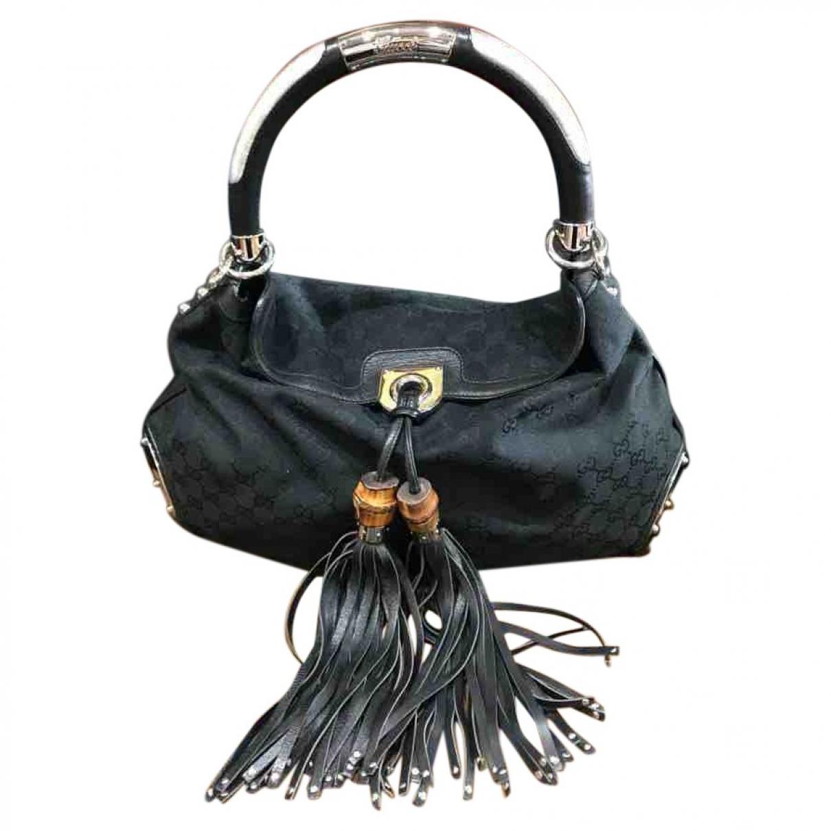 Gucci Indy Handtasche in  Schwarz Leinen