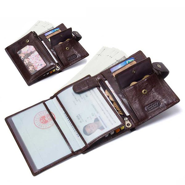 Men Genuine Leather Outdoor Casual Large Capacity Multi-function 8 Card Slot Passport Wallet