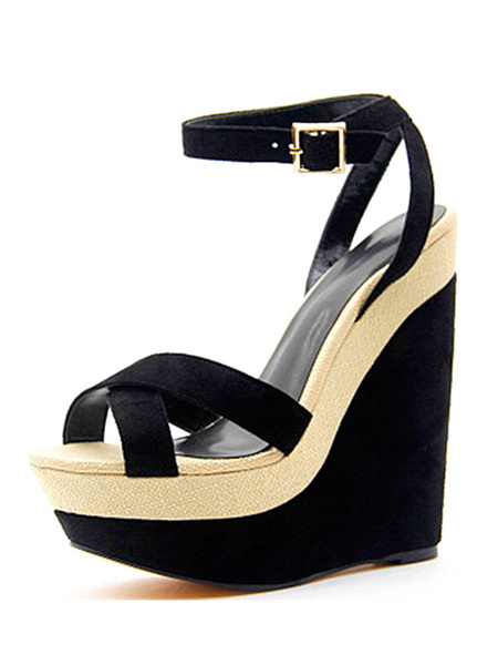Milanoo Sandalias Plataforma De Cuña Negras Zapatos De Mujer Plataforma De Gamuza Abierta Detalle De La Hebilla Del Tobillo Correa Sandalia Zapatos