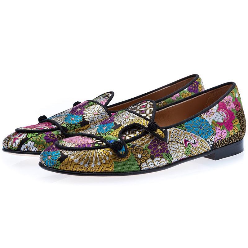 Ericdress Floral Color Block Slip-On Round Toe Men's Dress Shoes