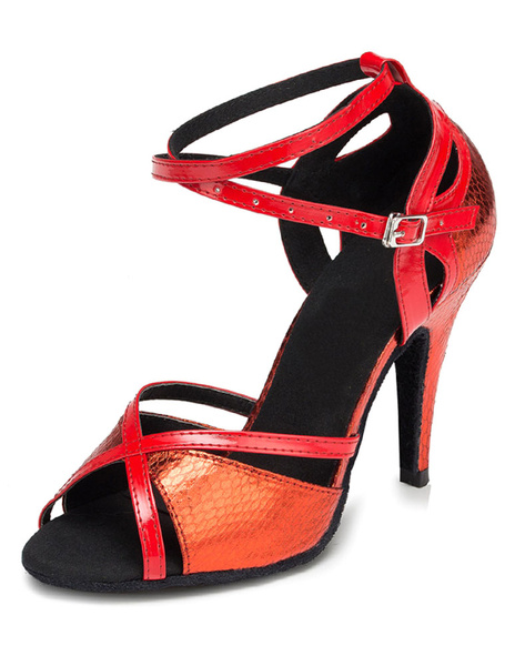 Milanoo Red Dance Sandals Cut Out PU Heels for Women
