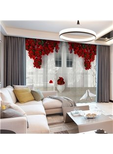 3D European Style White Wall Red Floral Printed Decorative 2 Panels Custom Sheer Environment-friendly and Durable Thick Hair Cords No Pilling No Fadin