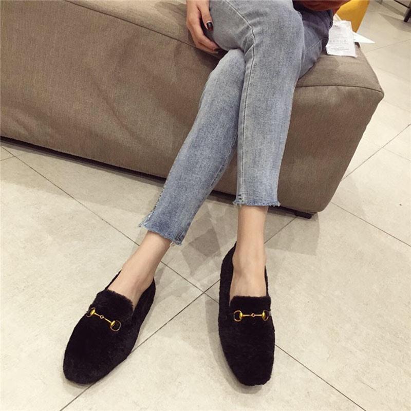 Ericdress Faux Fur Block Heel Round Toe Slip-On Women's Flats