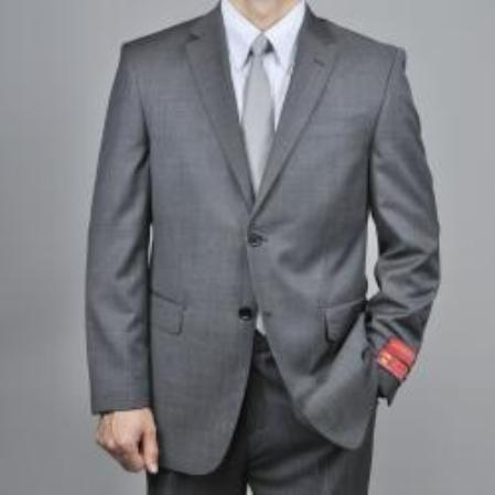 Charcoal Gray 2Button Wool Suit