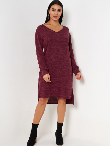 Yoins Red Slit Design Wide V-neck Long Sleeves Dress