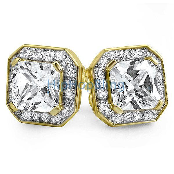 Gold Iced Out Princess CZ Micro Pave Earrings