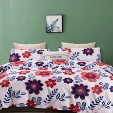 Set ropa de cama con patron floral sin relleno
