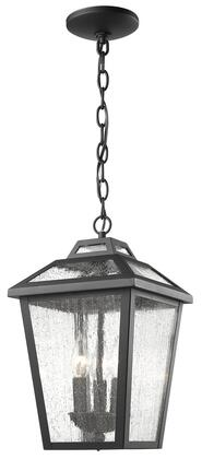 Bayland 539CHM-BK 9 3 Light Outdoor Chain Light Early American  Colonialhave Aluminum Frame with Black finish in Clear